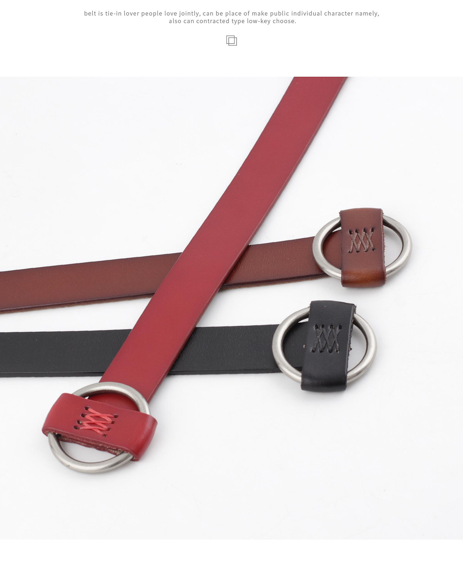 Needle-free punch-free leather ladies belt casual decorative belt fashion cow two-layer belt women NHPO203972