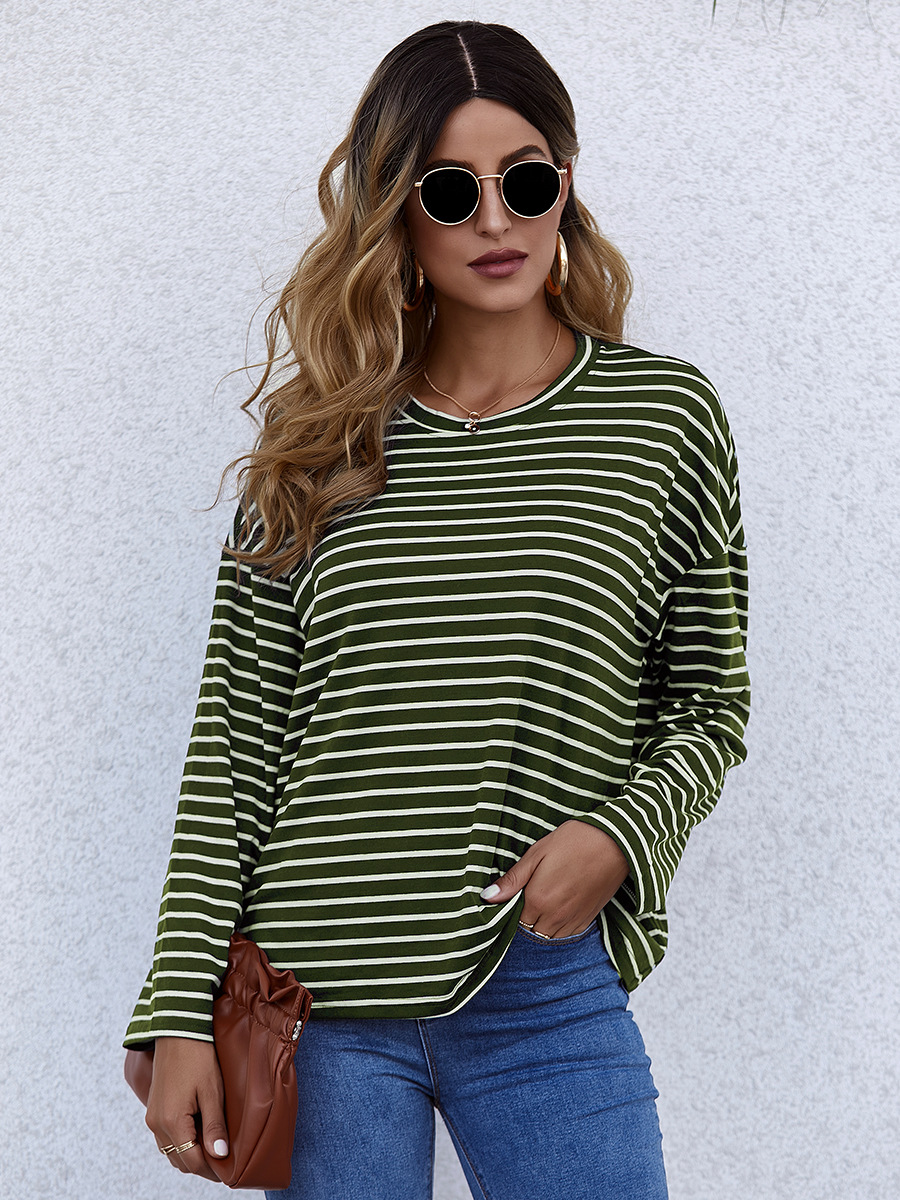 hot-selling striped top women's autumn loose long-sleeved T-shirt NSAL2600