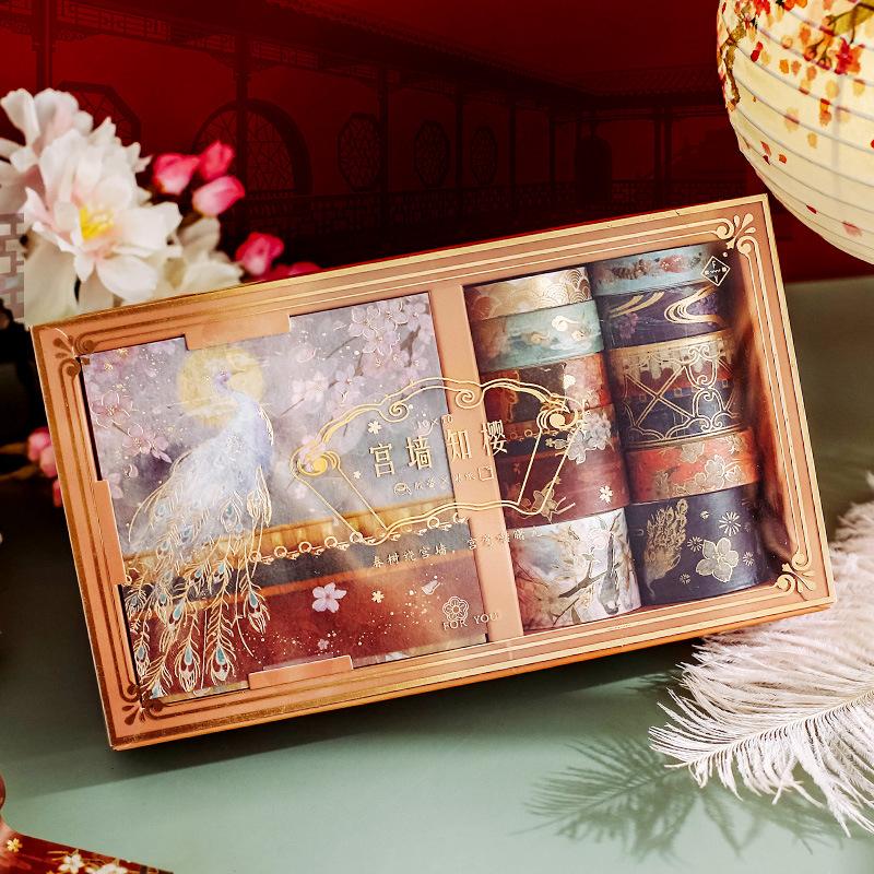 扶柚 和纸胶带贴纸套装 宫墙知樱系列 手绘复古国潮仙鹤故宫素材