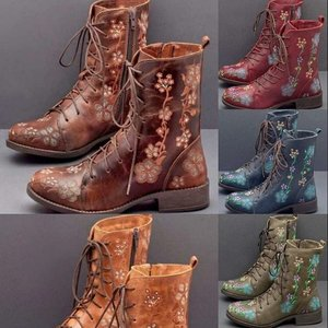 High tube square heel knight boots women's shoes embroidered side zipper waterproof boots