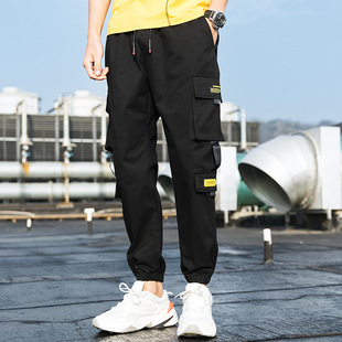 2021 new men's solid color casual pants men's Korean version of solid color nine-point pants youth handsome overalls men's feet