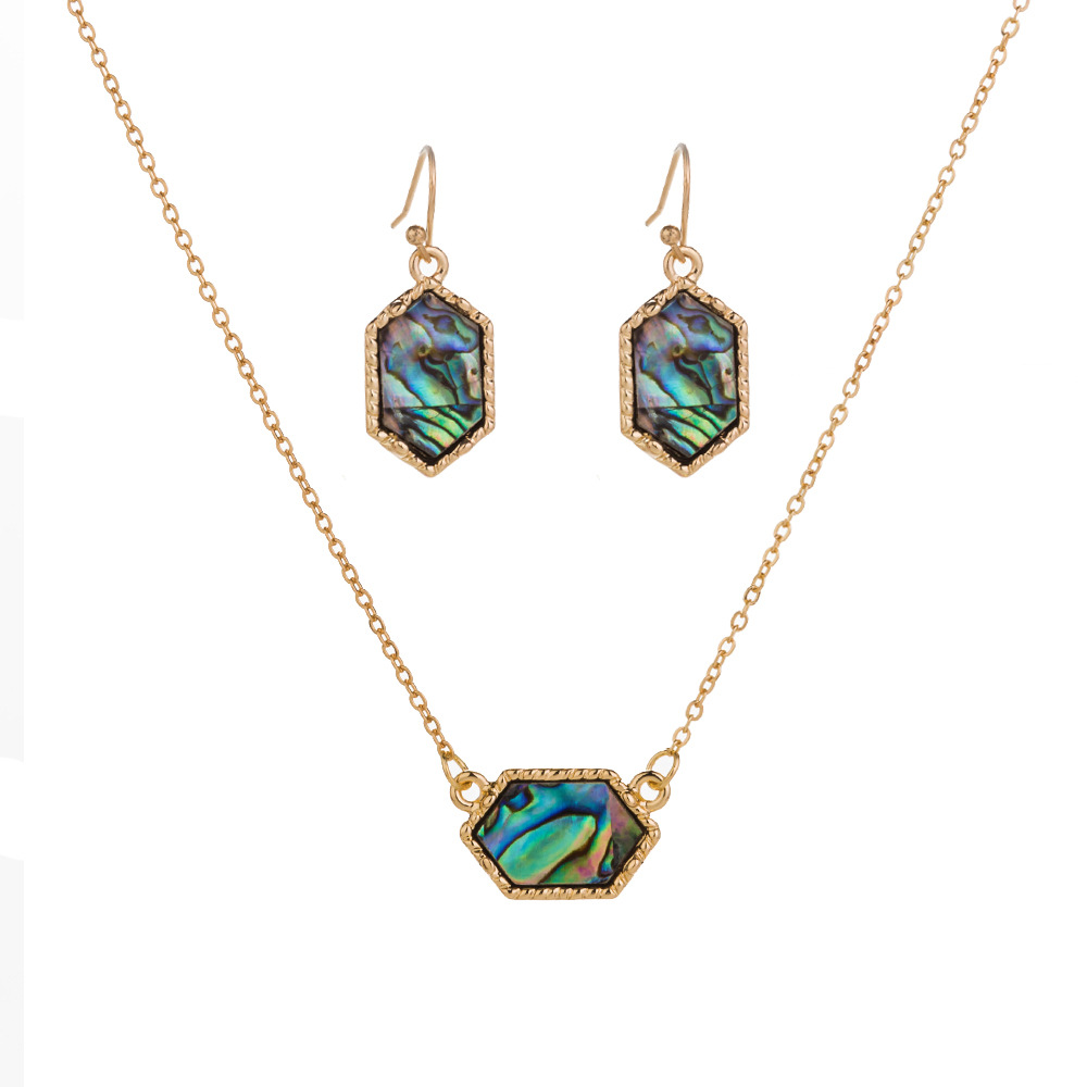 new fashion wild natural color abalone necklace earrings set for women NHAN243308