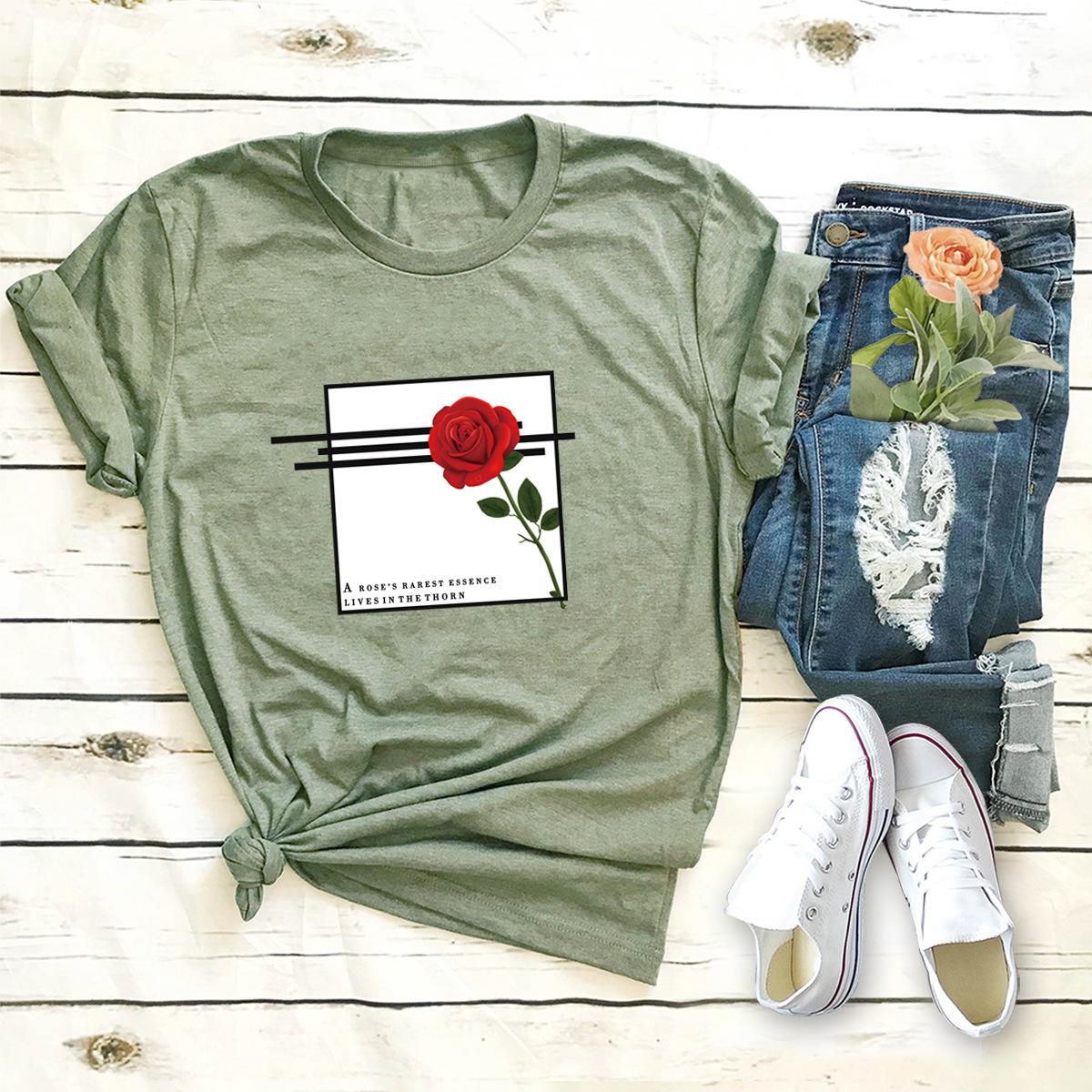 hot letter rose print comfortable short-sleeved T-shirt NSSN873