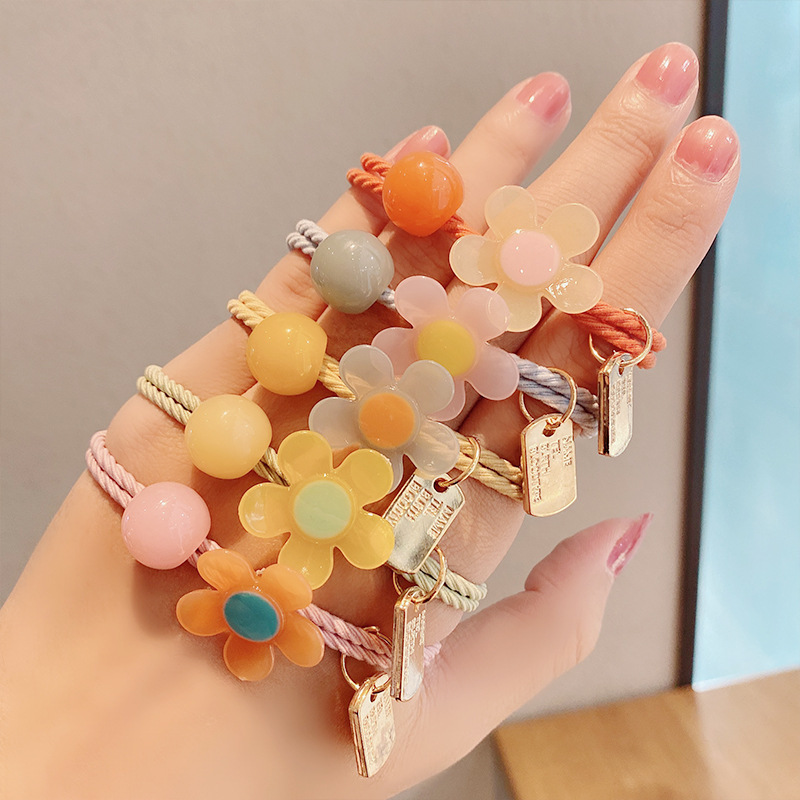 candy color flower hair rope band head rope jewelry cute hair ring wholesale nihaojewelry NHNA239516
