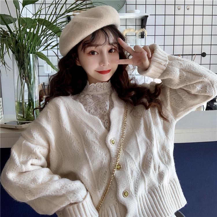 2020秋冬新款甜美慵懒风V领开衫网红宽松学生长袖针织毛衣外套女