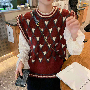 Japanese 2020 spring and autumn new retro fungus collar love sleeveless knitted sweater vest women's vest college style