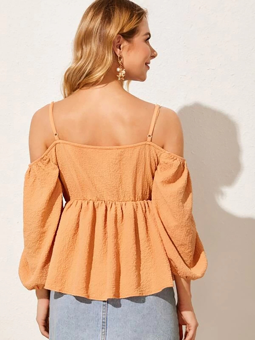 summer new style one-shoulder top blouse shirt off-shoulder strap pleated shirt NSDF401