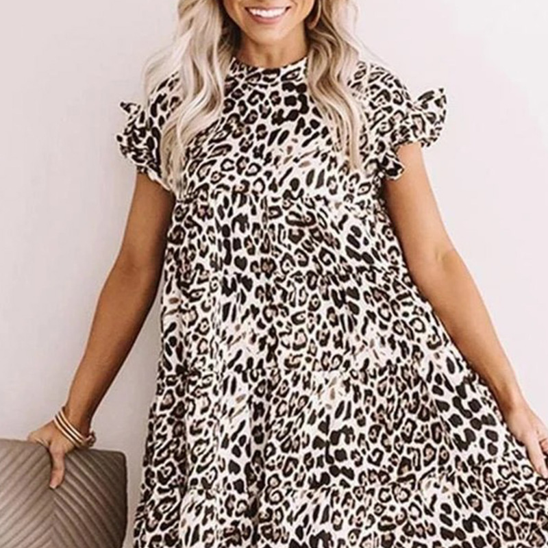 Cross border 2020 summer women's new fast selling popular fashion leopard print large dress in Europe and America