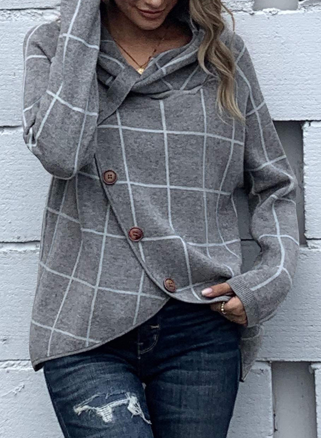 new button-style high neck long-sleeved hem asymmetric pullover sweater NSSI2715