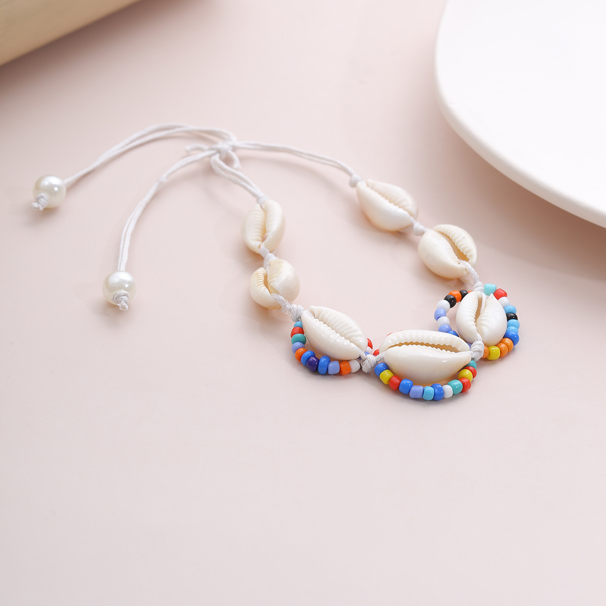 fashion jewelry wild hand-contrast color pearl beads jewelry bohemian simple shell adjustable bracelet  wholesale nihaojewelry NHXR228290