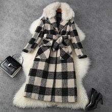 2020冬季女装新款英伦风格子毛领宽松长款羊毛呢子大衣外套T11530