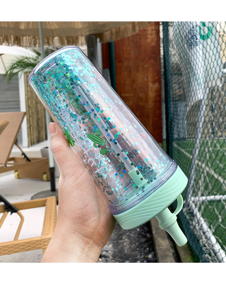 Fashion Printed Plastic Water Cup Silicone Leakproof Cap Straw Cup Sequin Handle Cup NHtn205377