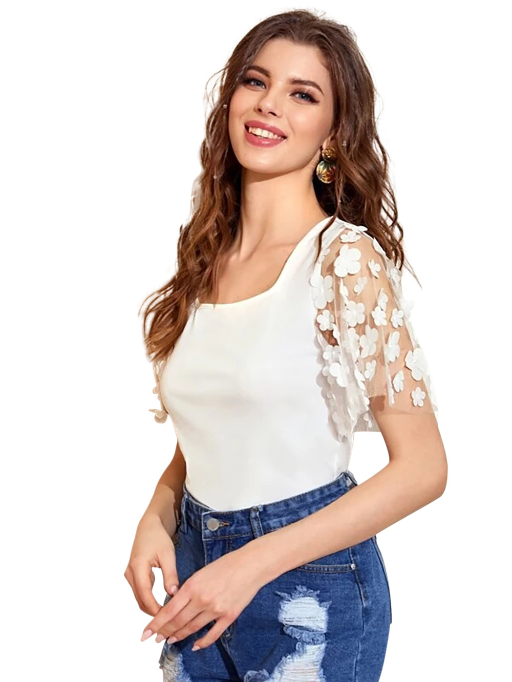 Hot selling fashion embroidery hollow gauze sleeve square neck all-match bottoming shirt NSDF1524