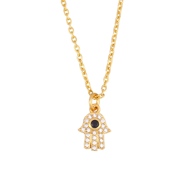 New fashion hamsa evil eye hand of fatima blue eye necklace women wholesale NHAS202588