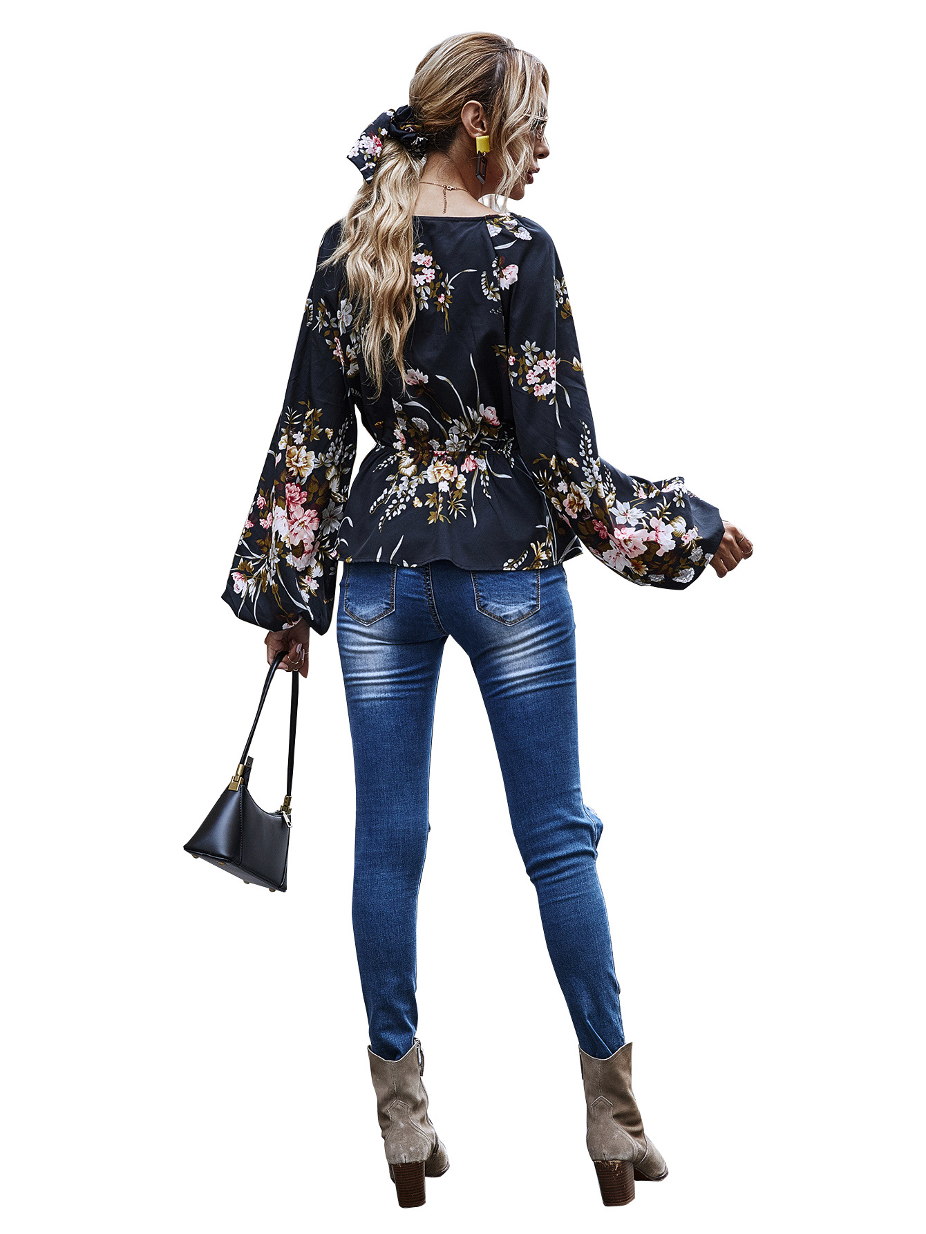 print V-neck waist lotus leaf swing lantern long-sleeved top wholesale NHDF25