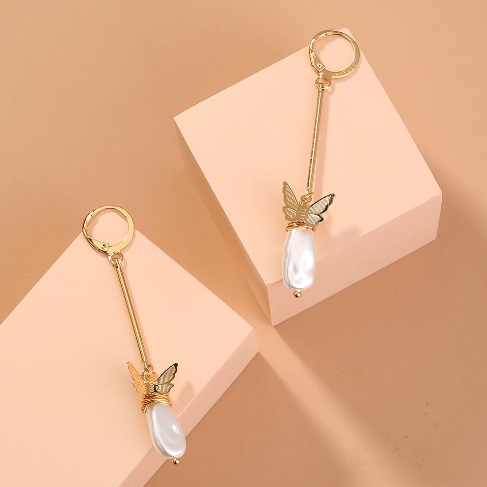 new trend long  O-shaped  wild butterfly shaped pearl earrings wholesale   NHAN240665