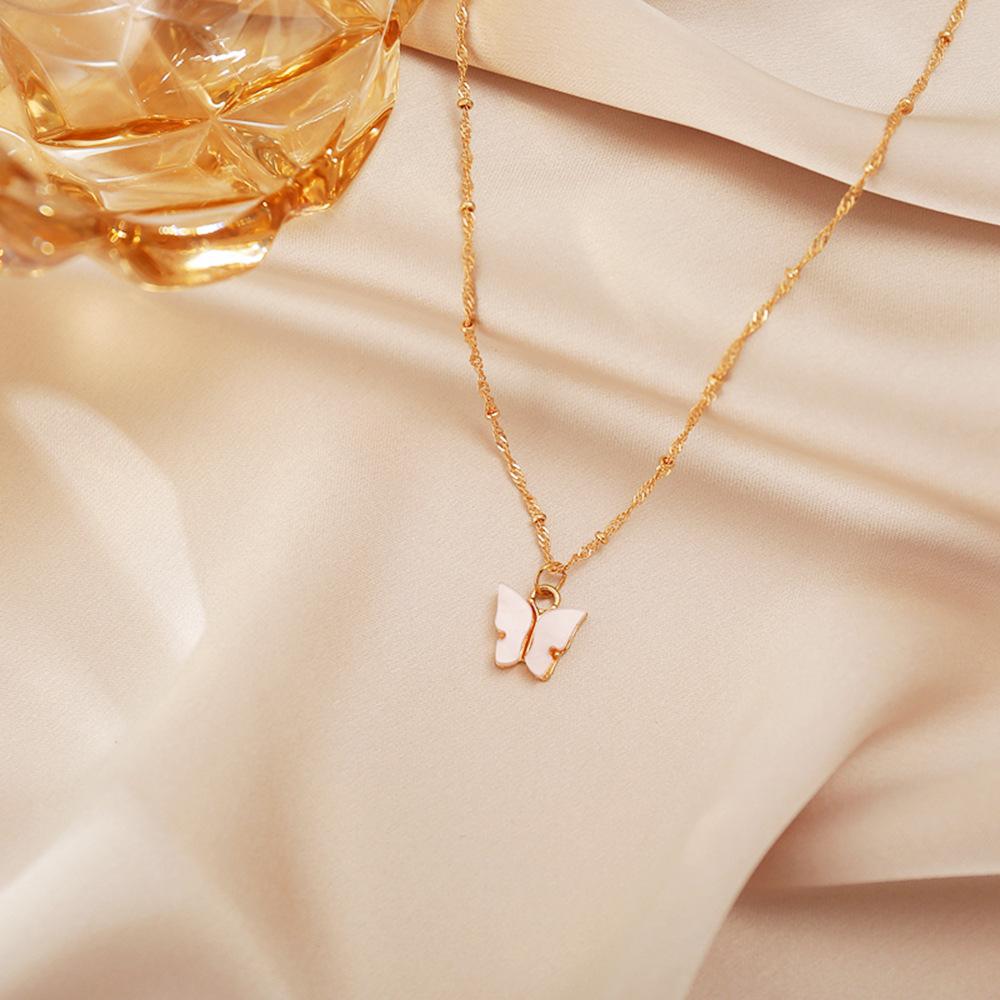 Sweet new Acrylic Butterfly Simple Sweet Beauty alloy Pendant Necklace For women NHPJ255309
