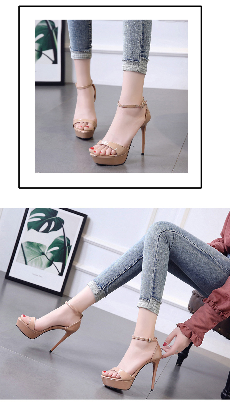 Summer new word with open toe sandals super high heel stiletto platform women's shoes NHSO200243
