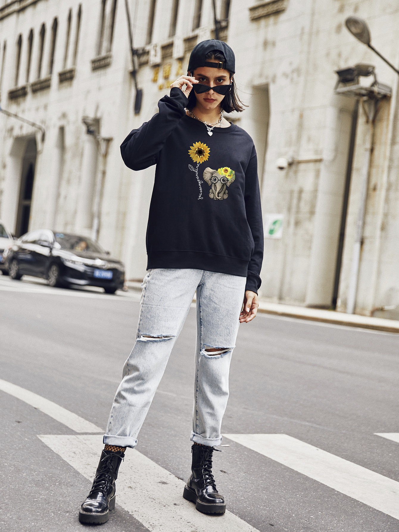 new autumn and winter women's round neck long sleeve street casual sweater NSSN4045