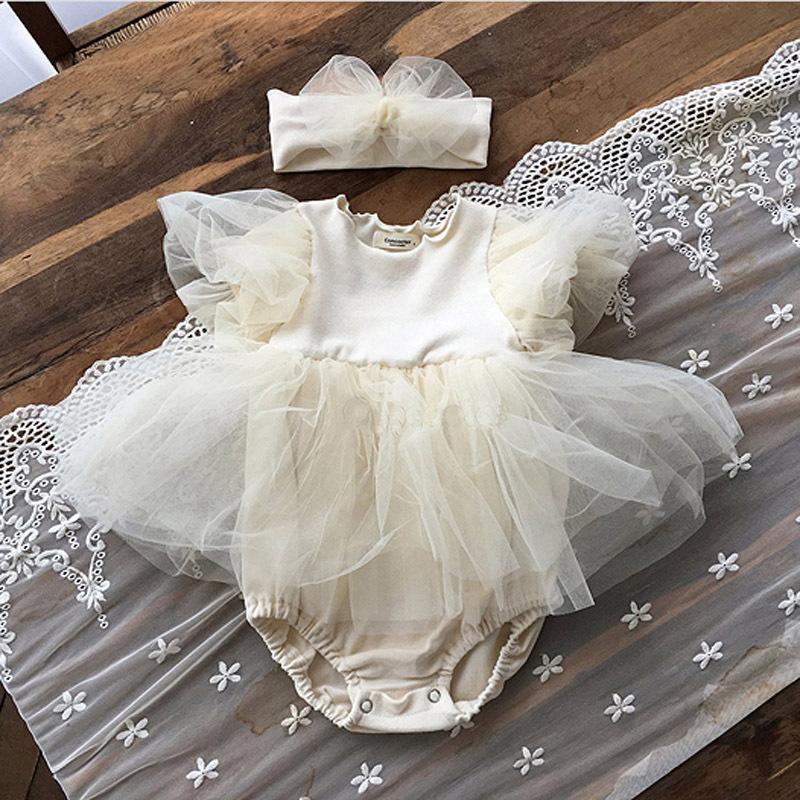 2021夏款新品韩版百岁宴公主短袖爬服婴儿女宝宝泡泡袖蓬蓬纱裙