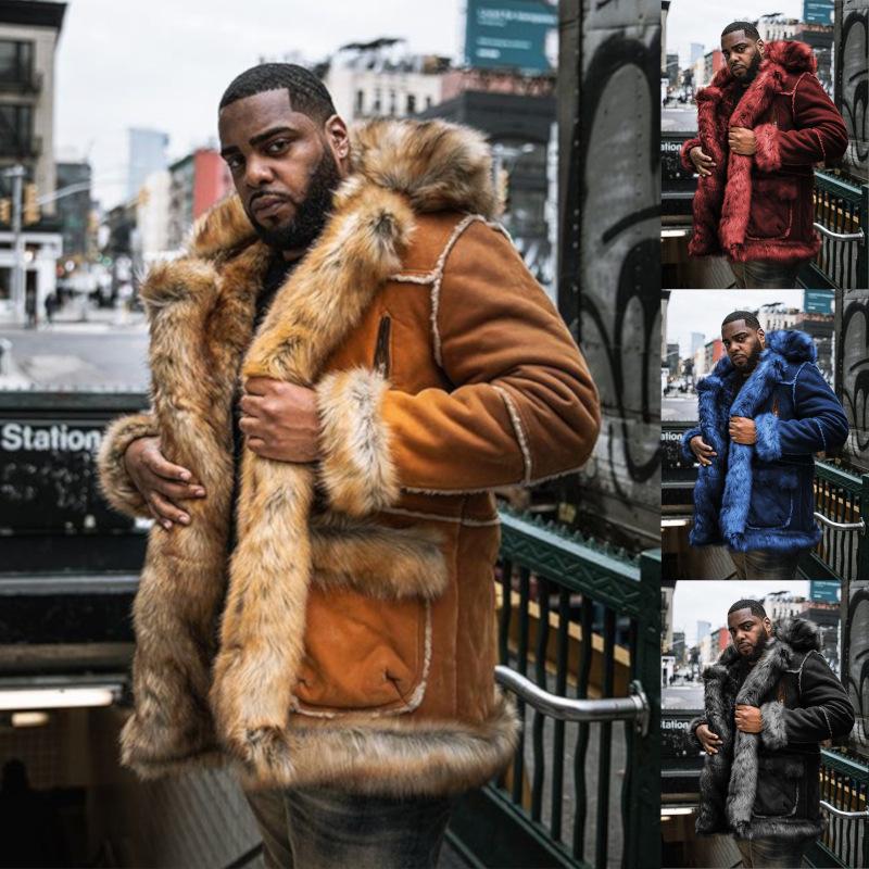 外贸2020欧美时尚皮毛拼接大衣外套wish新款男式保暖外套大口袋