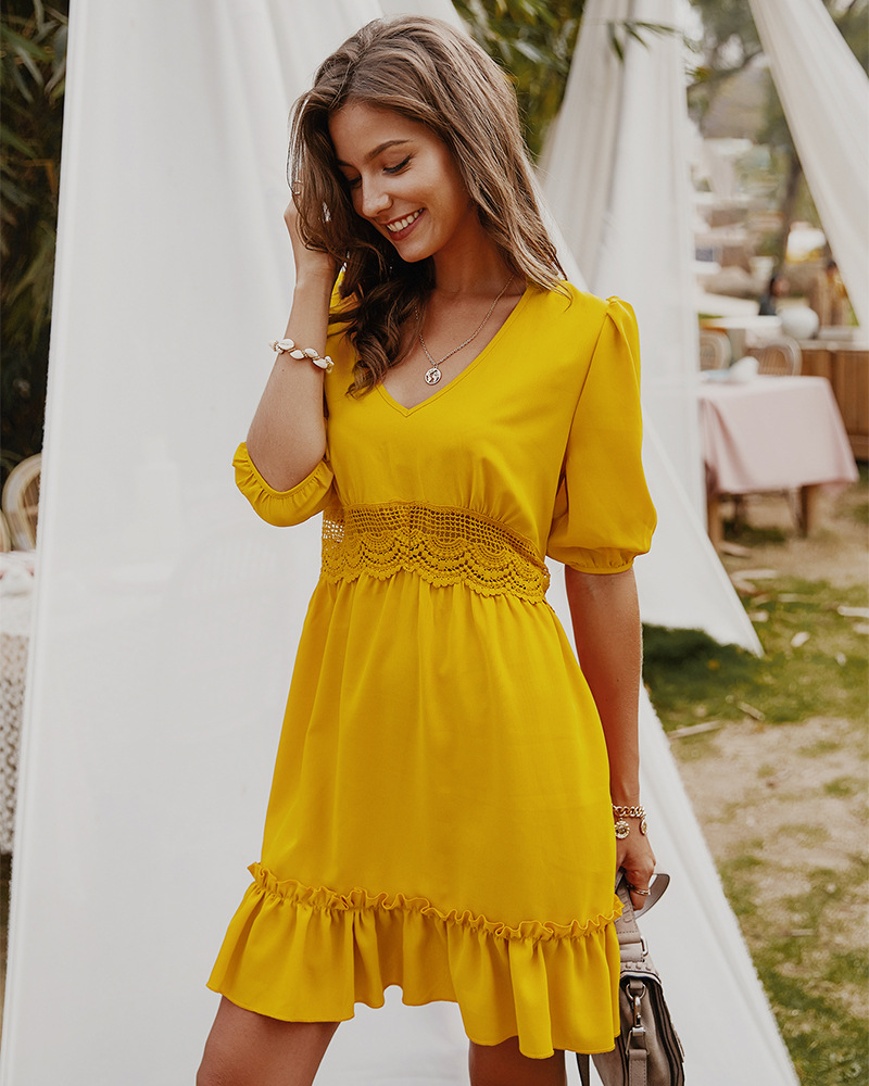 women's solid color V-neck spring and summer five-point sleeve sexy dress NSKA1041
