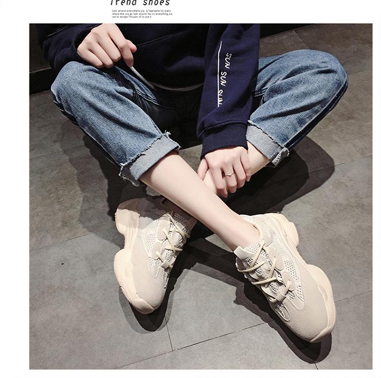 2020纯色通用平跟女大白运动圆头低帮前系带米色皮鞋