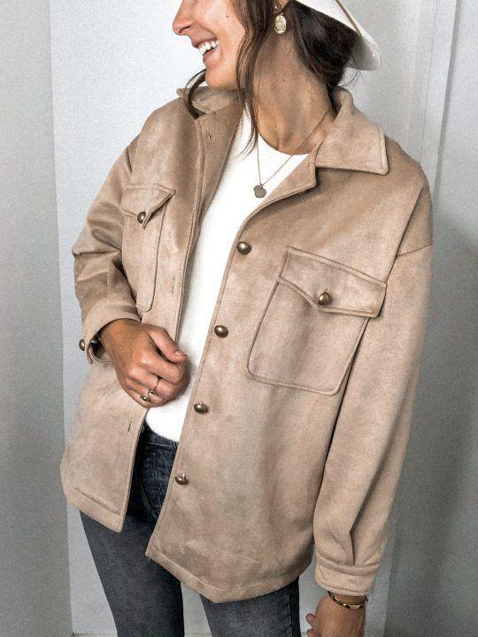 fashion long-sleeved pocket deerskin jacket NSYF1815