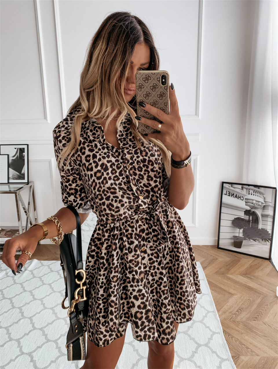 new long-sleeved fashion sexy printed shirt dress NSYF1828