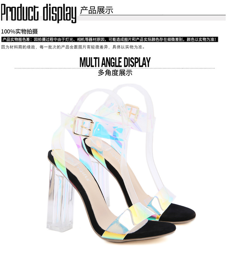 classic new spring laser crystal heel sexy thick high heel sandals for women NHCA244284