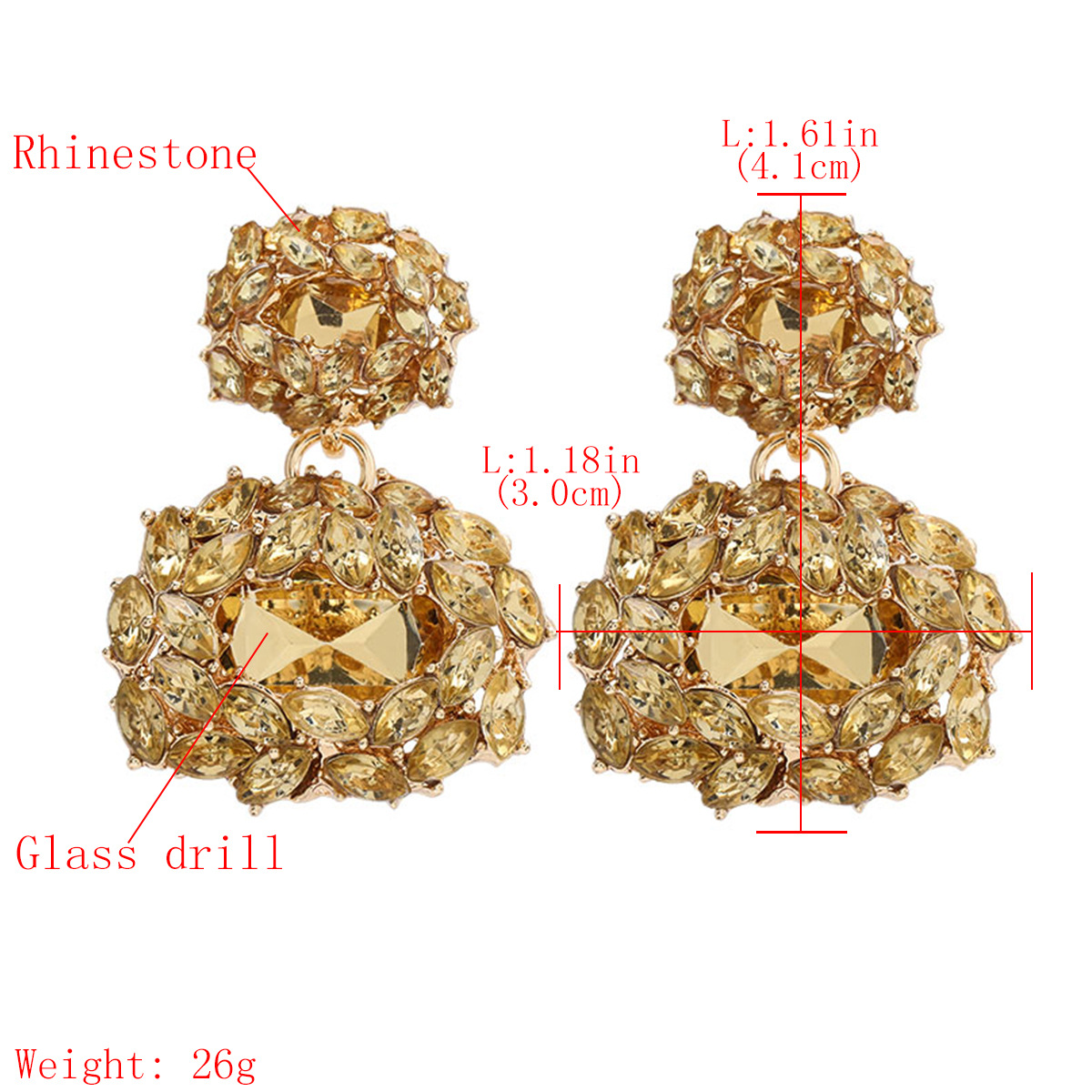 Multilayer alloy diamond rhinestone glass diamond full diamond geometric earrings for women NHJE195351