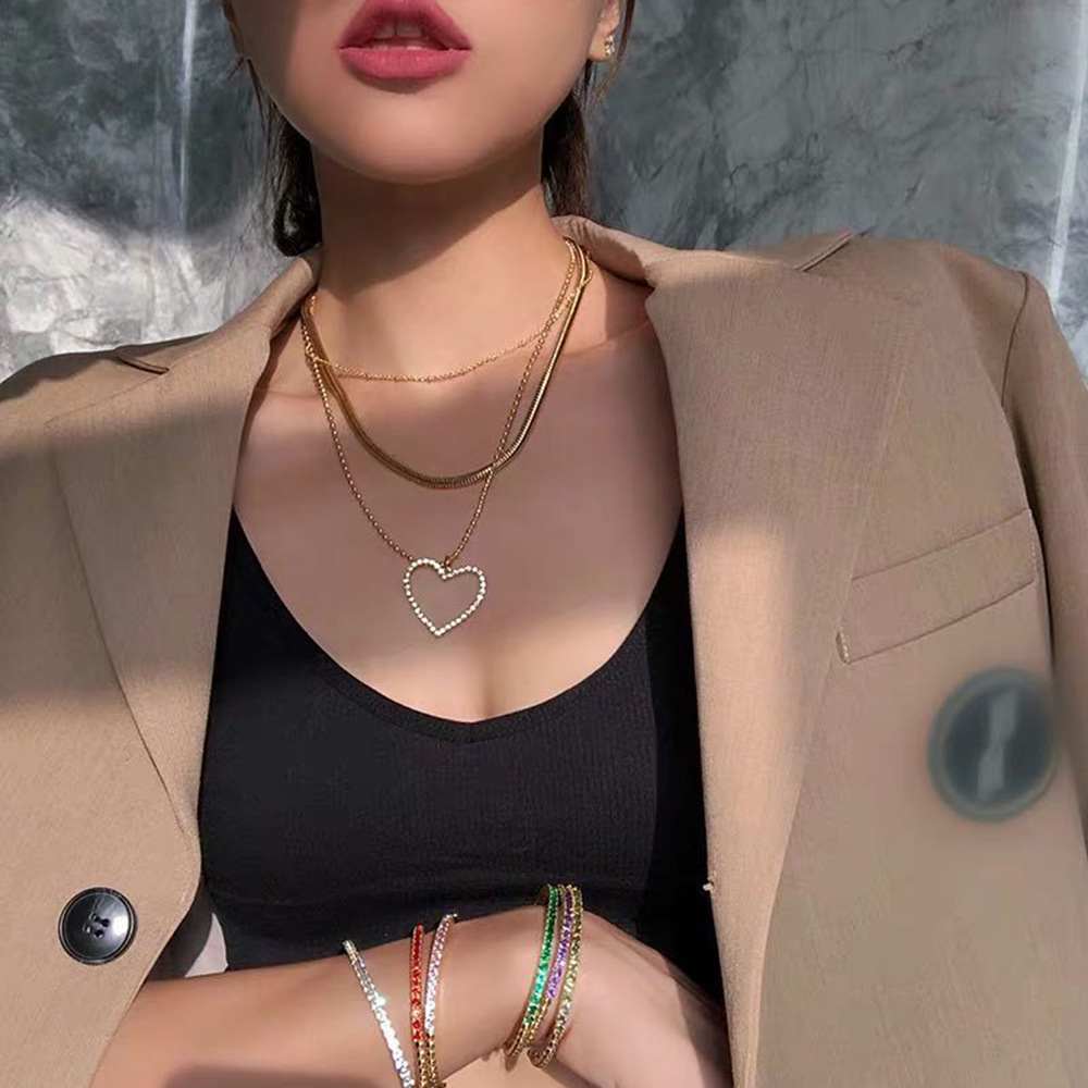 New creative hollowed out love alloy diamond pendant multilayer necklace nihaojewelry wholesale NHMD213876