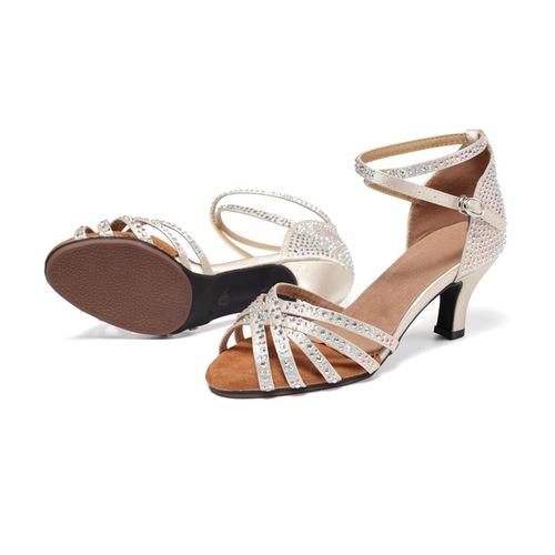Professional Latin dance shoes into social dance women diamond high heels dance shoes soft soled square dance women shoes sandals