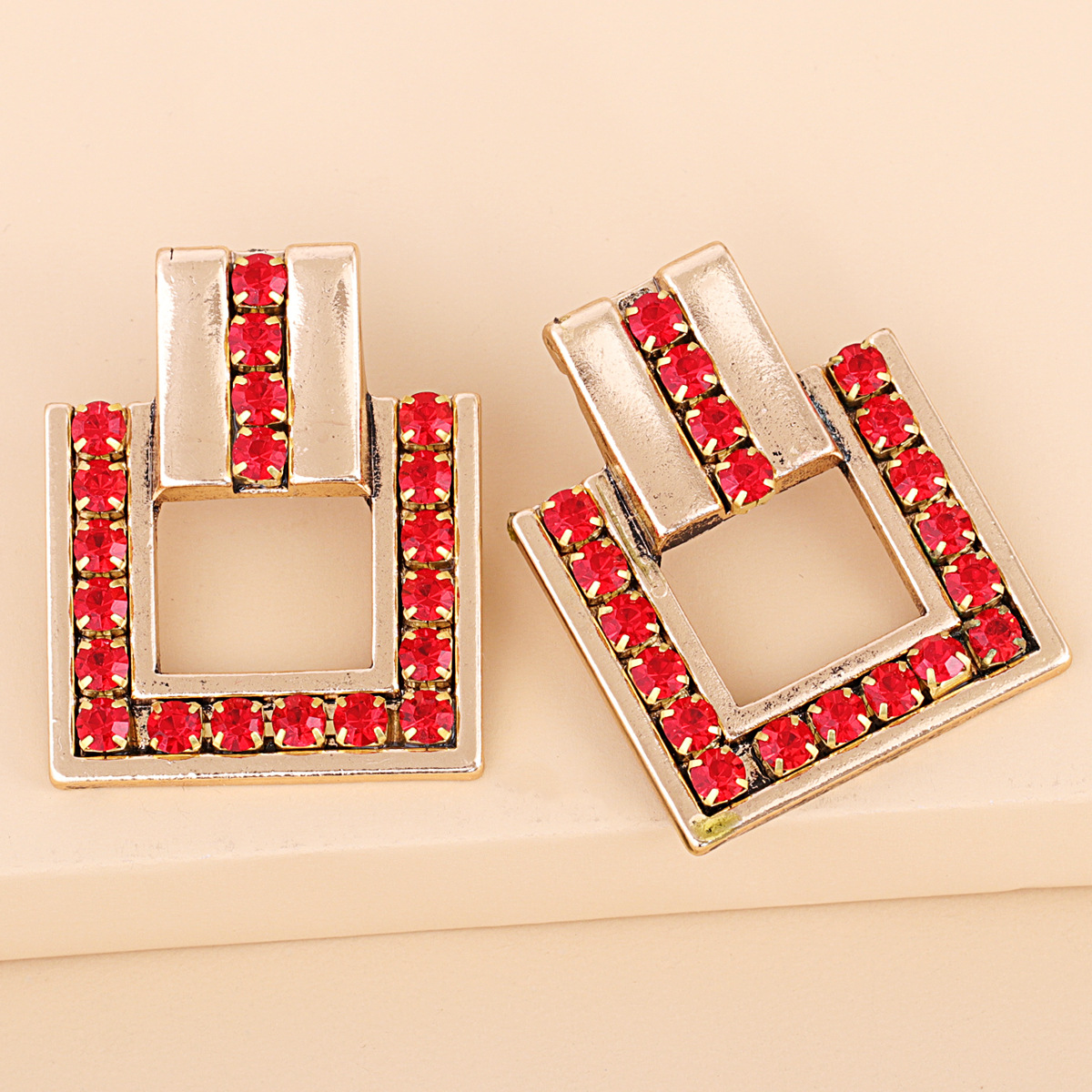 exaggerated  square alloy diamondstudded glass earrings NHJJ280194