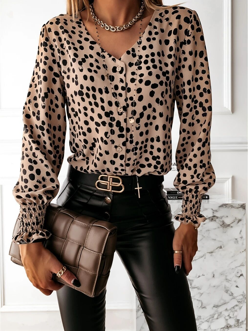 women's tops round neck printed shirts NSYF1821