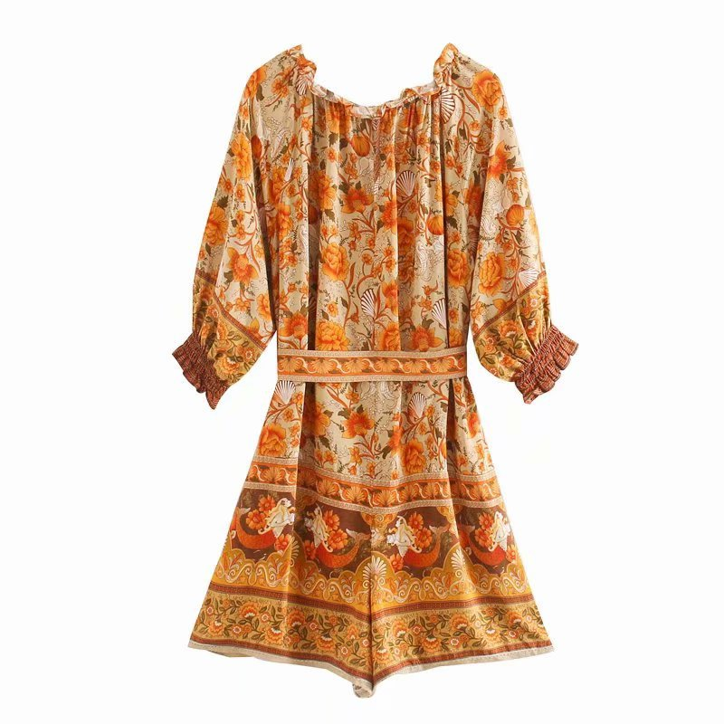 Wholesale New Fashion Spring Summer Women's Print Lace Up Vacation Jumpsuit Shorts NHAM201504