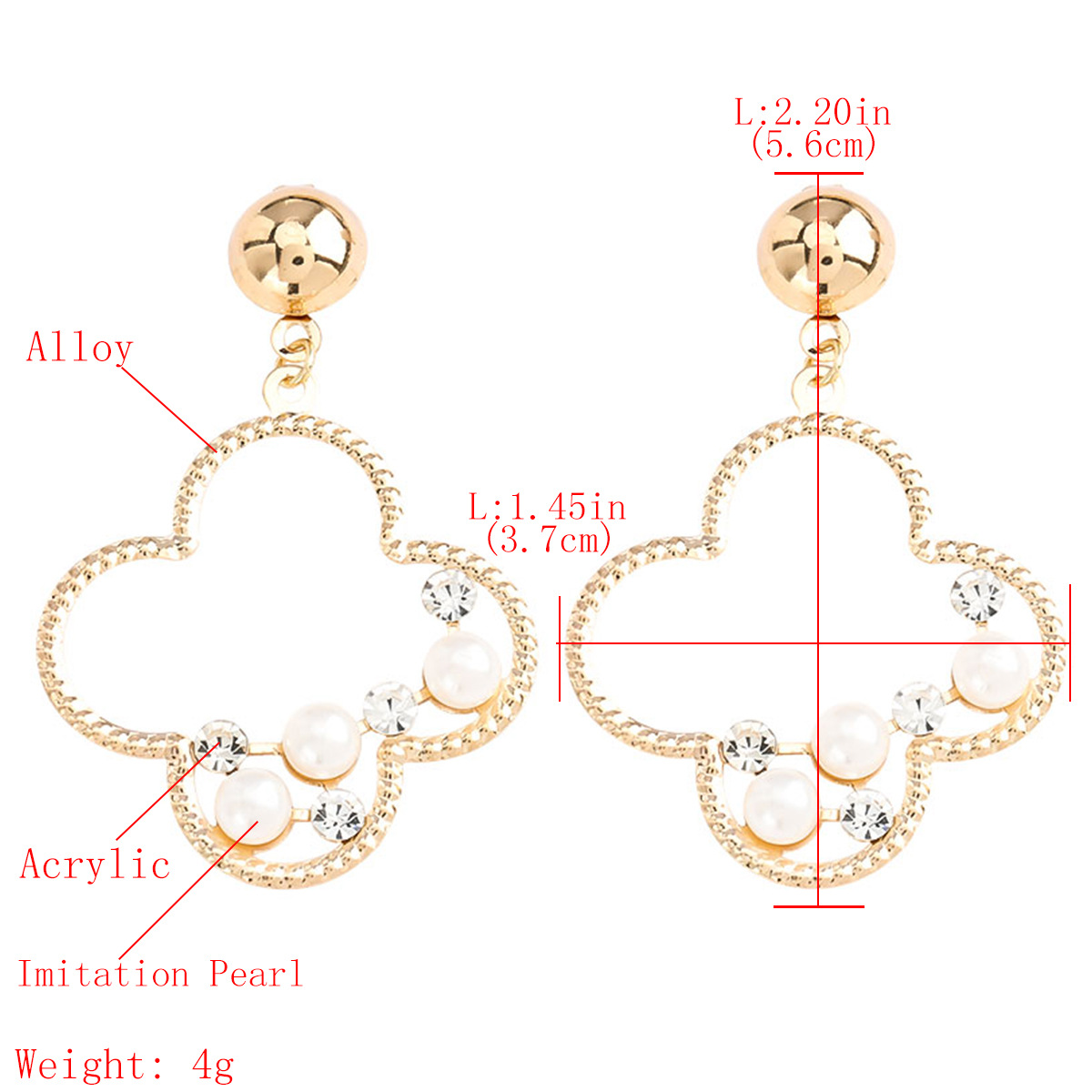 Geometric flower alloy acrylic diamond and pearl earrings for women wholesale NHJE207247