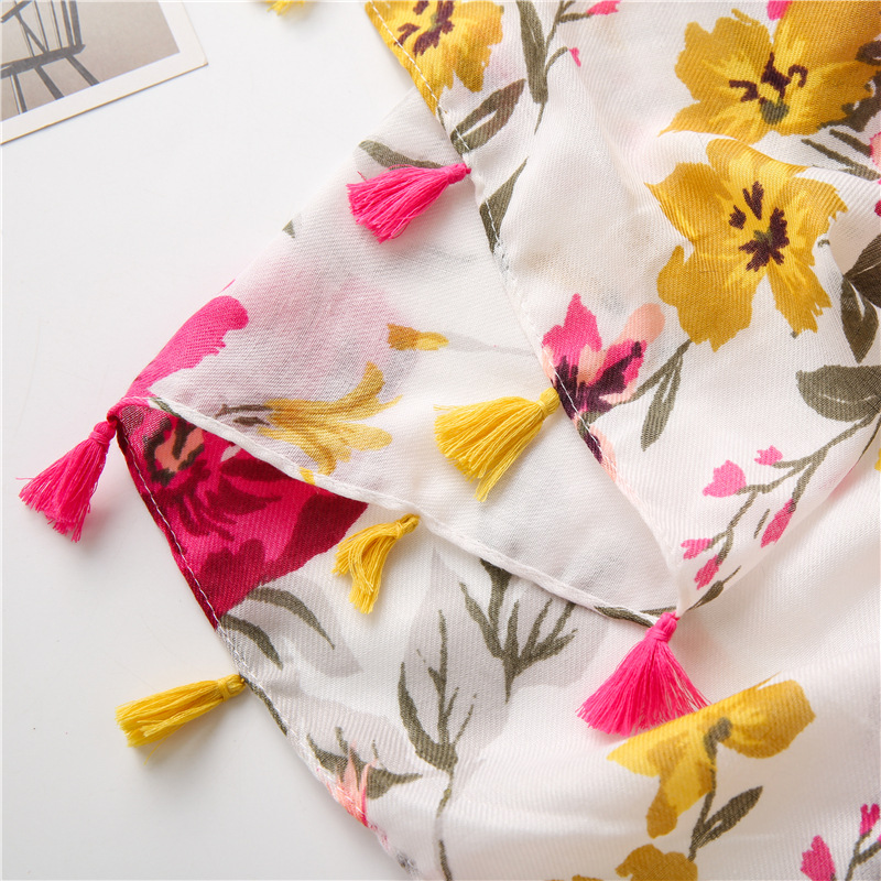 Fashion wild color flower printing ethnic style cotton and linen silk scarf sunscreen shawl for women NHGD246688
