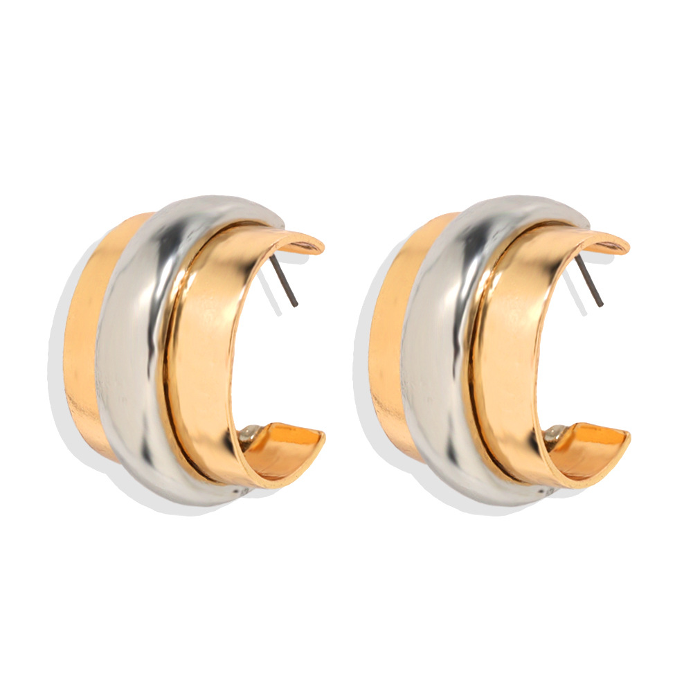 Exaggerated alloy mixed color earrings creative fashion ear jewelry women NHJQ205212
