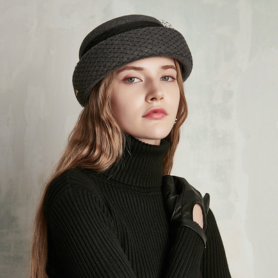 Party hats Fedoras hats for women Dress retro British woollen net lady Beret celebrity high end wool top hat