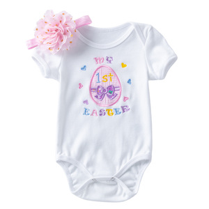 Product Easter embroidery egg short sleeve Baby dresses cartoon triangle bag