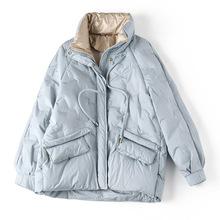冬季韩版立领韩宽松版拉链连帽白鸭绒气质通勤加厚蓝色棉服