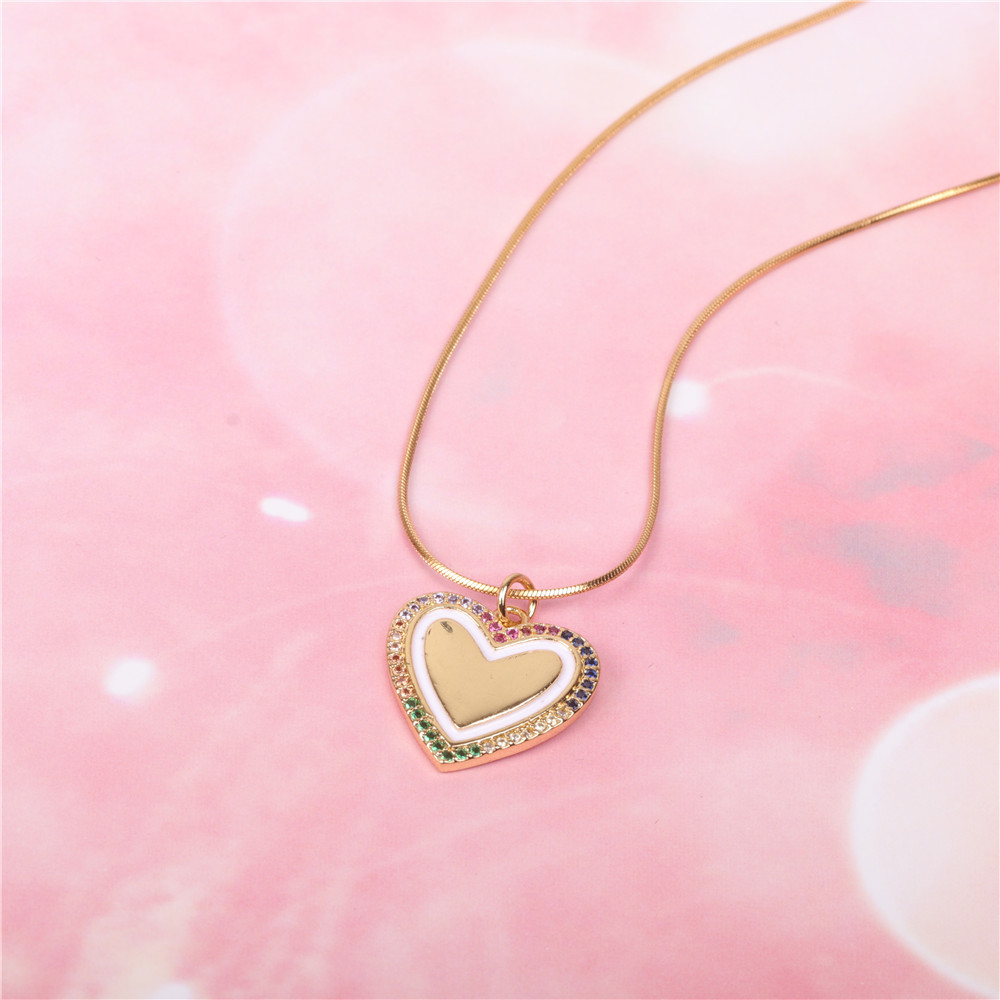 New accessories fashion love peach heart oil drop pendant necklace stainless steel snake bone chain wholesale NHPY196581
