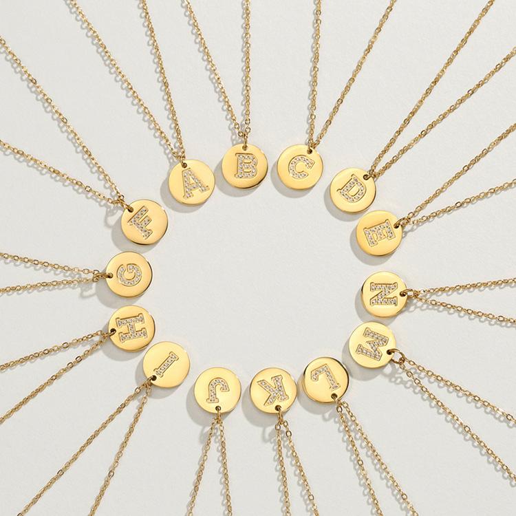 fashion pendant diamond 26 letter necklace 316L titanium steel clavicle chain neck chain wholesale nihaojewelry NHTF233941