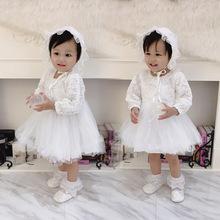 1012春秋長袖禮服嬰兒加厚加絨公主裙寶寶滿月裙baby連衣裙蕾絲裙