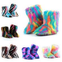 秋冬季新款女室外保暖防滑靴子毛毛中筒皮毛一体雪地靴女厂家直销