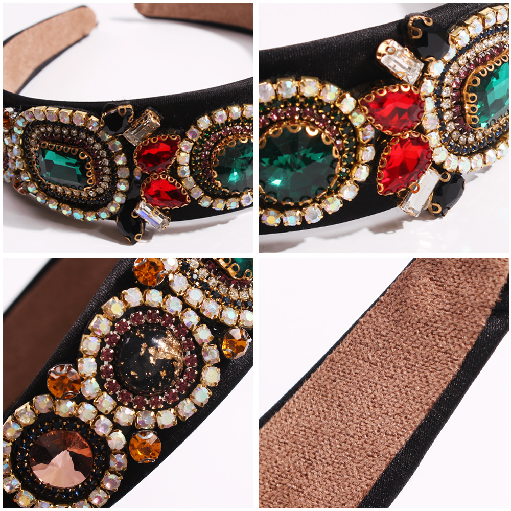 Women's vintage glass diamond wide-band hair hoop court style colorful diamond gem headband NHMD200445