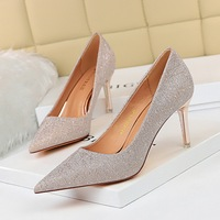 1829-A8 han edition banquet for women's shoes with high metal with shallow mouth pointed sexy nightclub show thin high-heeled shoes