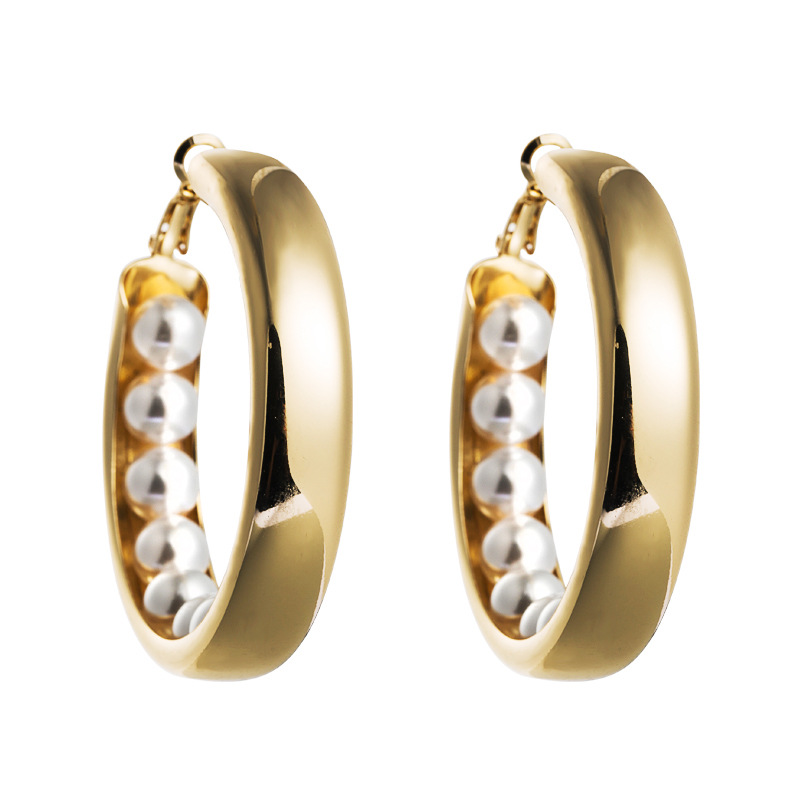 new fashion exaggerated creative C-shaped earrings female alloy pearl temperament high-end earrings wholesale nihaojewelry NHLN224266