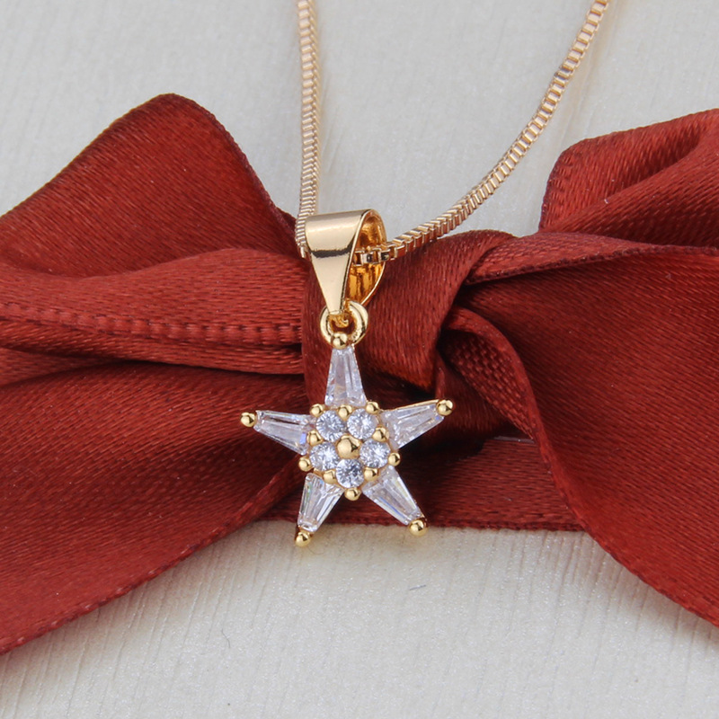 simple zirconium five-pointed star necklace set new gold-plated star pendant earrings wholesale nihaojewelry NHBP232019
